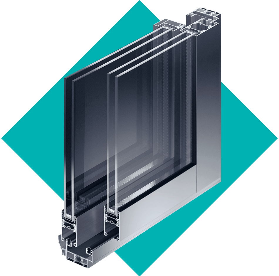 coupe Baie vitrée aluminium