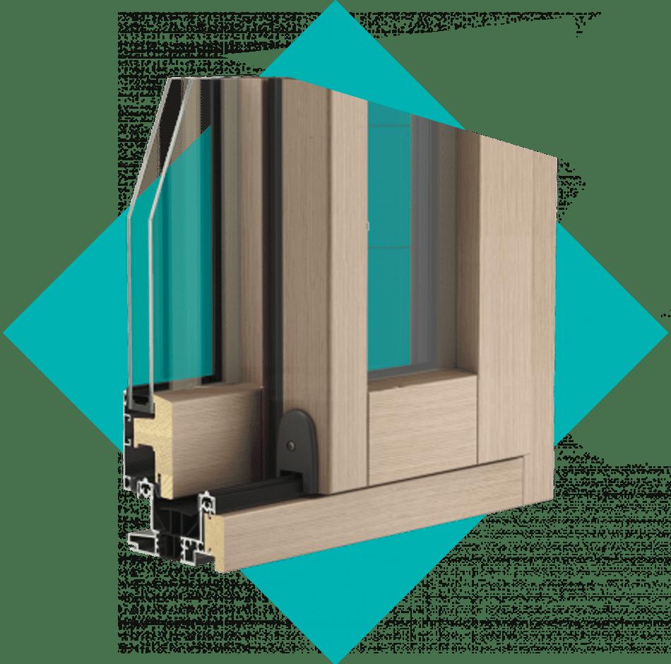 coupe baie vitrée bois alu