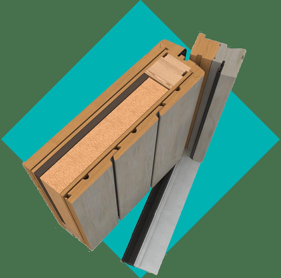 coupe porte d'entrée bois