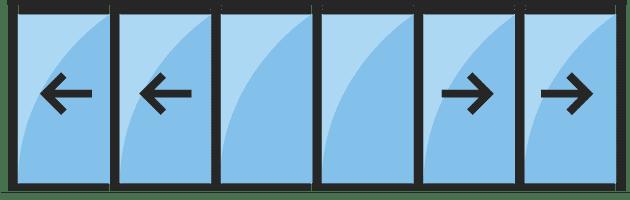 baie vitrée alu 6 vantaux sur 3 rails