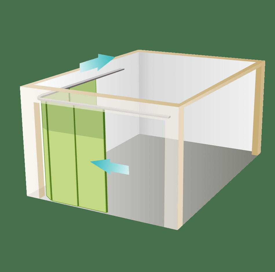 Porte sectionnelle à déplacement latéral
